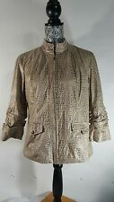 Chico's Medium Brown Zip Front Jacket Animal Print Band Collar 3/4 ruched sleeve