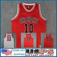 SLAMDUNK SLAM DUNK Shohoku Basketball #10 11 Rukawa Sakuragi White Red Jersey