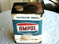 A Vintage 50/60's 1 Gallon Ampol Embossed Logo Capped Gear Lube Oil Tin