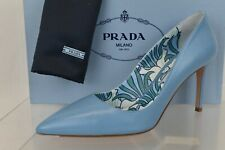 NIB PRADA 1I939F BLUE LEATHER POINTED TOE FLORAL LINED CLASSIC PUMPS 38 ITALY