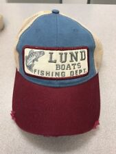 LUND FISHING BOATS DISTRESSED PATCH TRUCKER SNAP BACK HAT! FREE SHIPPING