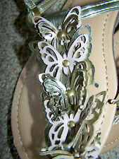CLEARANCE! Charlotte Russe Flat Glad sandals 7M SHINY Gold 3D SOFT Butterflys