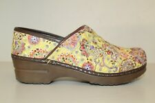 Sanita Womens Clog Shoes Size 6.5 / 37 Yellow Red Paisley Textured Danish