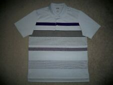 Men's NWOT ADIDAS Performance Golf Polo L GRAY w/Multi-Color Stripes & Adidas