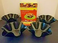 """NEW """"Kitchen Living"""" 4Pc. Non-Stick Tortilla Pan Set Use for Salads-Dips-Crepes"""