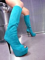 MORI MADE ITALY KNEE HIGH PEEP TOE BOOTS STIEFEL STIVALI LEATHER GREEN VERDE 38