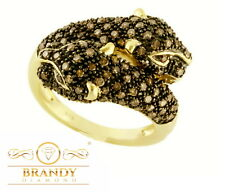 Brandy Diamond® Chocolate Brown 14K Yellow Gold Silver Diva Jaguar Cat Ring 1 Ct