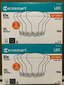 (LOT OF 2) EcoSmart 65W Soft White BR30 Dimmable LED LightBulb 6-Pack