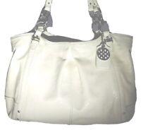 Coach 16231 Alexandra Cream Crinkle Patent Leather Shoulder Bag Handbag Tote