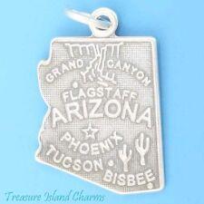 34e141a0794d Arizona State Map Phoenix Tucson Flagstaff .925 Sterling Silver Charm  Pendant