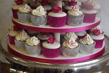 *NEW COLOUR* 48 x CERISE / HOT / SHOCKING PINK Foil muffin / cup cake cases