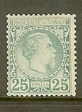 "MONACO STAMP TIMBRE N° 6 "" PRINCE CHARLES III 25c VERT 1885 "" NEUF xx TB SIGNE"