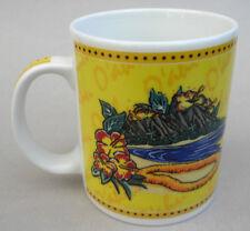 Coffee Mug Hawaii Oahu Island Hilo Hattie 11oz Yellow Beach Mountain 2002
