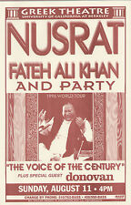 NUSRAT FATEH ALI KHAN & PARTY, DONOVAN Berkeley Greek Theatre orig. 1996 poster