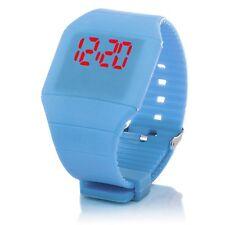 Digital Silikon LED Armband Uhr Armbanduhr Watch Unisex Fitness Sport Hellblau