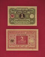 TWO UNC GERMAN DARLEHNSKASSENSCHEIN 1920 NOTES: 1 Mark (P-22) & 2 Mark (P-33)