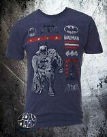 New Dc Comics Batman Mens  Multi Logo Classic Retro Vintage T-Shirt
