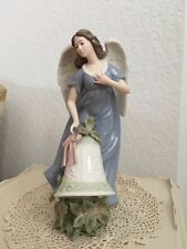 Large Porcelain Figurine Angel W/ Holiday Bell & Poincianas