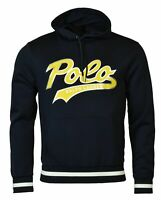 Polo Ralph Lauren Men's SZ S Double-Knit Graphic Logo Hoodie Navy Blue Yellow