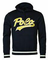 Polo Ralph Lauren Men's SZ M Double-Knit Graphic Logo Hoodie Navy Blue Yellow