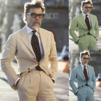 Men's Linen Suits Two Pieces (Coat+Pant) Pleated Pant Formal Leisure Tuxedos