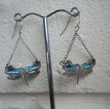 Scottish Silver & Enamel Art Nouveau Dragonfly Earrings  -  Pat Cheney h/m 1982