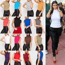 Ladies Womens Plain Sleeveless Turtle Polo High Neck Vest Bodycon T Shirt Top