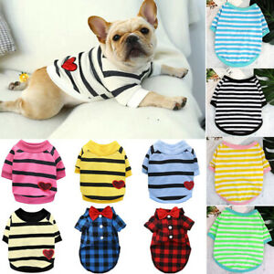 Pet Dog Clothes Striped T-shirt Puppy Cat Sweater Coat French Bulldog Chihuahua*