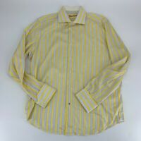 Robert Graham Mens Button Up Dress Shirt Size 42 16.5 Yellow Stripe French Cuff
