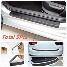 5pc Door Pedal Rear Bumper Trunk Tail Lip Carbon Fiber Protection Sticker  Black