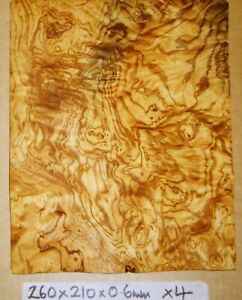 REAL WOOD VENEER 4 X OLIVEWOOD BURL FOR GUITARS,CRAFT,FURNITURE,BOX,MARQUETRY
