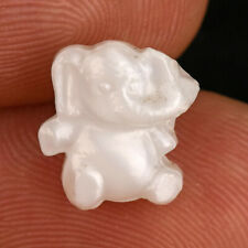 """Vintage White Moonglow Glass Kiddie Goofie Realistic Sewing Button Elephant 1/2"""""""