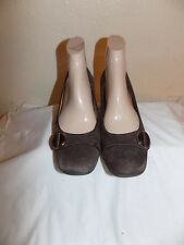 Sofft Brown Leather Suede  Classic Slip On Wedge  Pumps Shoes Size 9.5  M