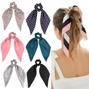 1 Pc Women Soft Satin Ribbon Scrunchie Rope Hair Accessories Rubber Holder Ponyt