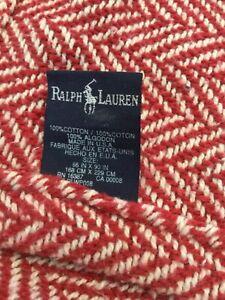 PRETTY RALPH LAUREN FARMHOUSE RED/CREAM HERRINGBONE 66X90 TWIN XL BLANKET/THROW