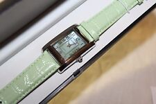 VTG LIGHT SPRING GREEN GOSSIP WATCH ALLIGATOR BAND, NEW IN BOX NEVER USED