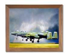 A-10 Thunderbolt Jet Airplane Wall Picture Honey Framed Art Print