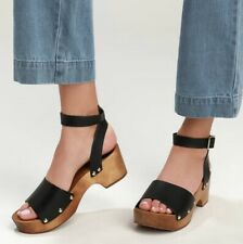 Lulu's Willy Black Vachetta Leather Open-Toe Clog Sandals