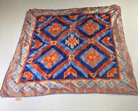 Vintage Scarf Goemetric Glentex Japan Square Hair Wrap Orange Blue