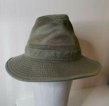 Dorfman Pacific Mens Sz S Brushed Olive Twill Mesh Safari Hat Packable Crushable