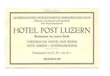 SCHWEIZ WERBE AK HOTEL POST LUZERN SCHWEIZ um 1930