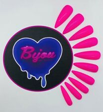 20 Set Bright Neon Pink Hand Painted Press On Fake False Nails Summer Party