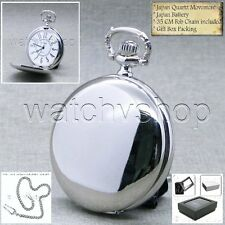 Silver Antique Pocket Watch Polish Case 42 MM with Fob Chain and Box Unisex 174A