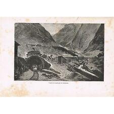 Gœschenen Mont Saint-GOTHARD vue prise avant le Tunnel en SUISSE GRAVURE XIXè S