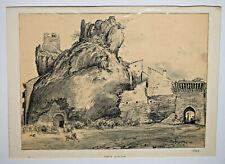 PORTE D ORGON Bouches du Rhone ROBIDA Gravure LITHOGRAPHIE XIX°