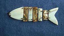 Vintage Mother of Pearl and Abalone Fish Pendant- Free Shipping