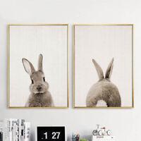Bunny Rabbit Butt Tail Canvas Poster Woodland Animal Nursery Art Print Decor