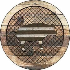 """Pig Fence Fencing 12"""" Round Aluminum Metal Sign Rustic Home Farm Wall Decor"""