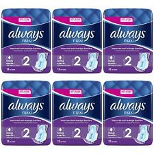 72 x Always Maxi Long Sanitary Pads w/ Wings, Leakage Barriers - Super Absorbent