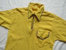 Vtg 60s Neck Loop Crazy Pocket Polo Shirt Mod Hollywood 50s 70s Yellow Surf Vlv